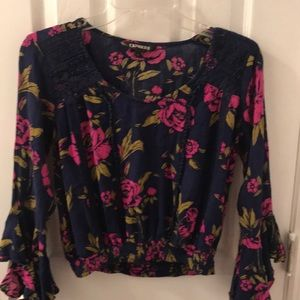 EXPRESS Boho Bell Sleeves Floral Blouse